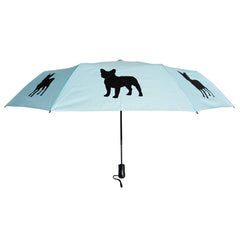 "French Bulldog 12"" Compact Collapsible Auto Open/Close Premium Umbrella Island Paradise Blue"