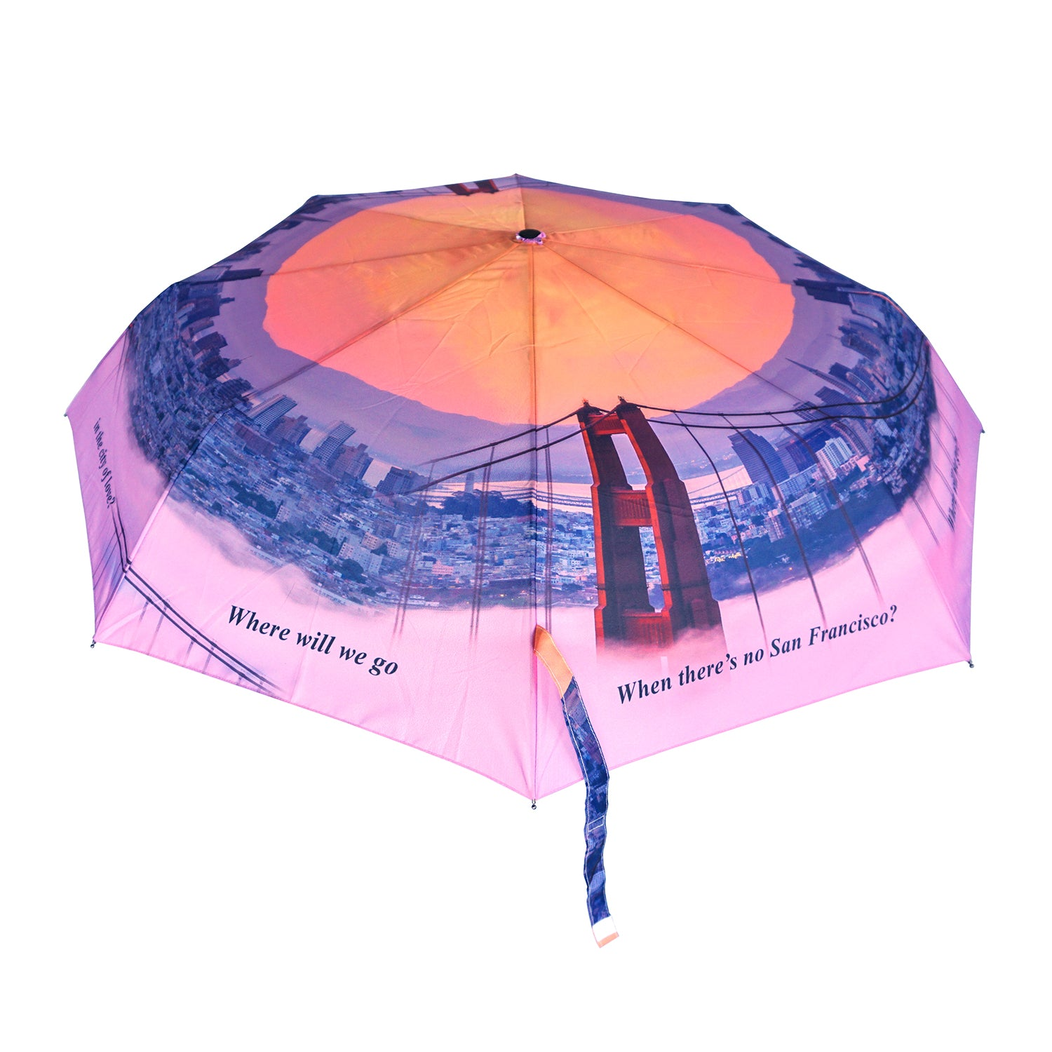 "San Francisco ""City of Love"" 12"" Compact Collapsible Umbrella Auto Open/Close Premium Quality"
