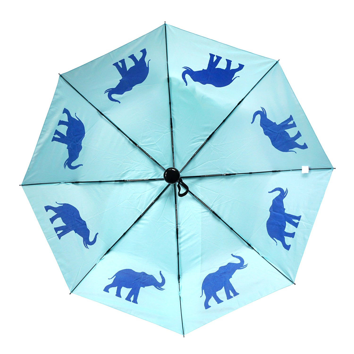 "Elephant 12"" Collapsible Auto Open/Close Umbrella Royal Blue on Island Paradise Blue"
