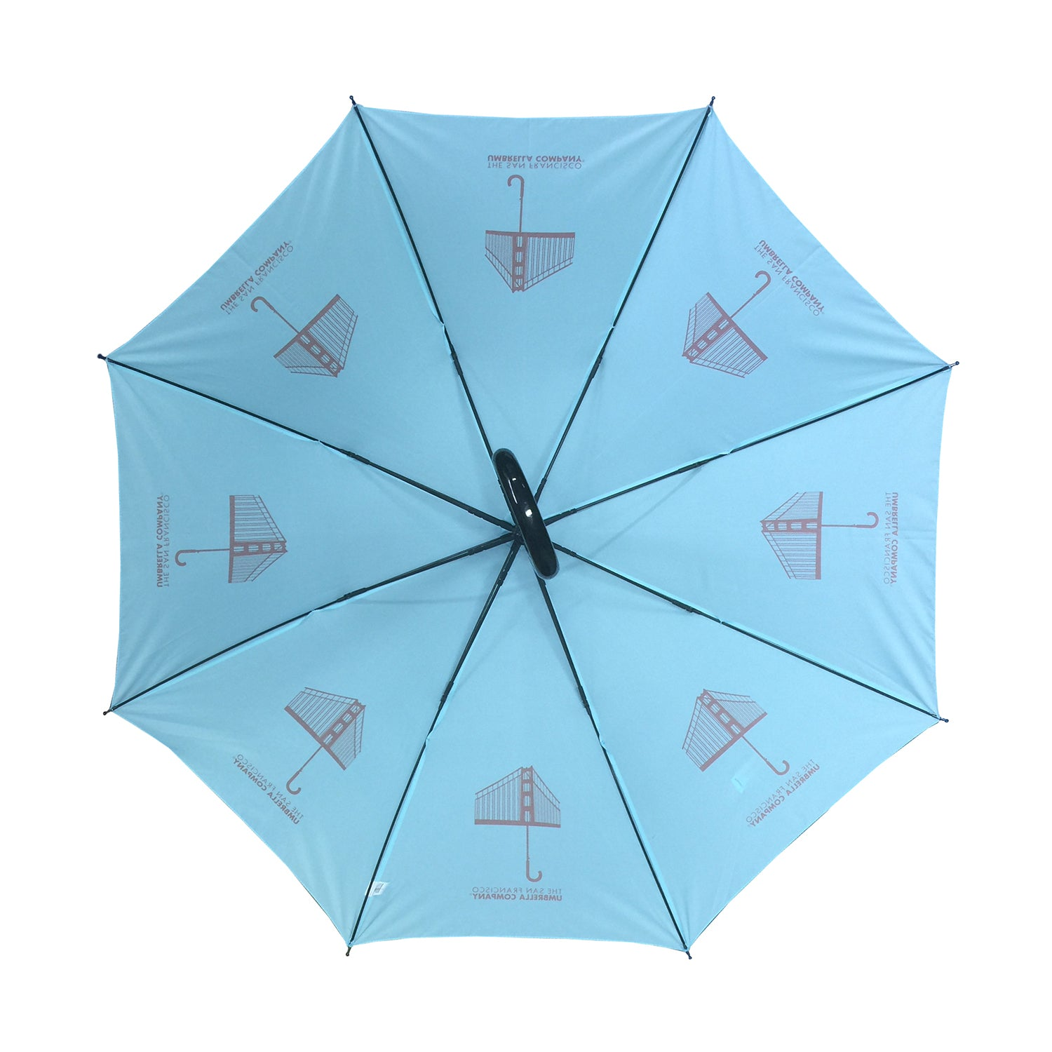San Francisco Umbrella Company Orange (Golden Gate Bridge) Logo Stick Umbrella  on Island Paradise Blue