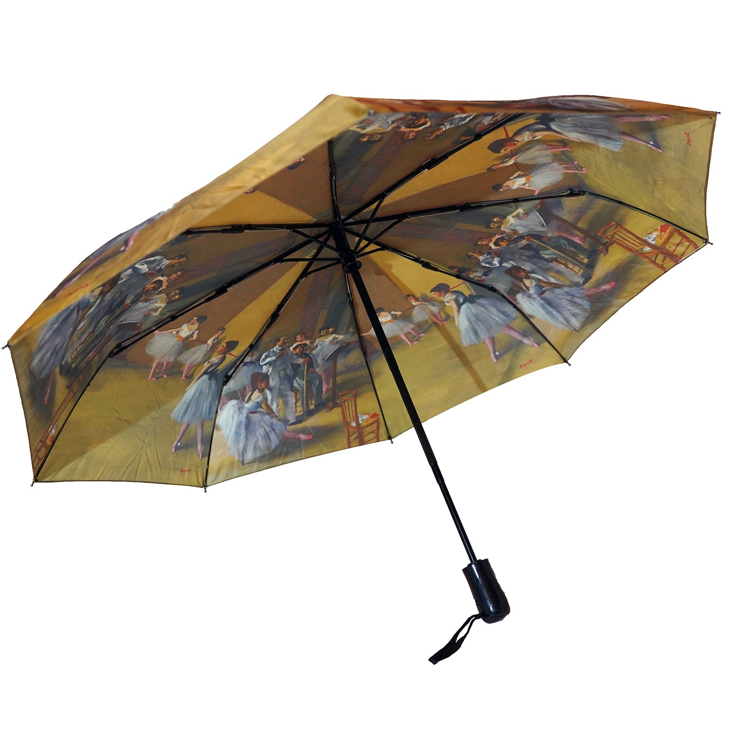 "Degas Ballerinas 12"" Compact Collapsible Auto Open and Close Premium Umbrella"