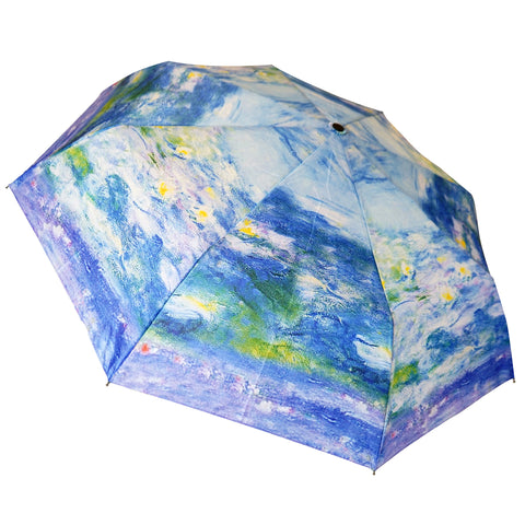 "Monet's Waterlilies 12"" Compact Collapsible Auto Open and Close Premium Umbrella"