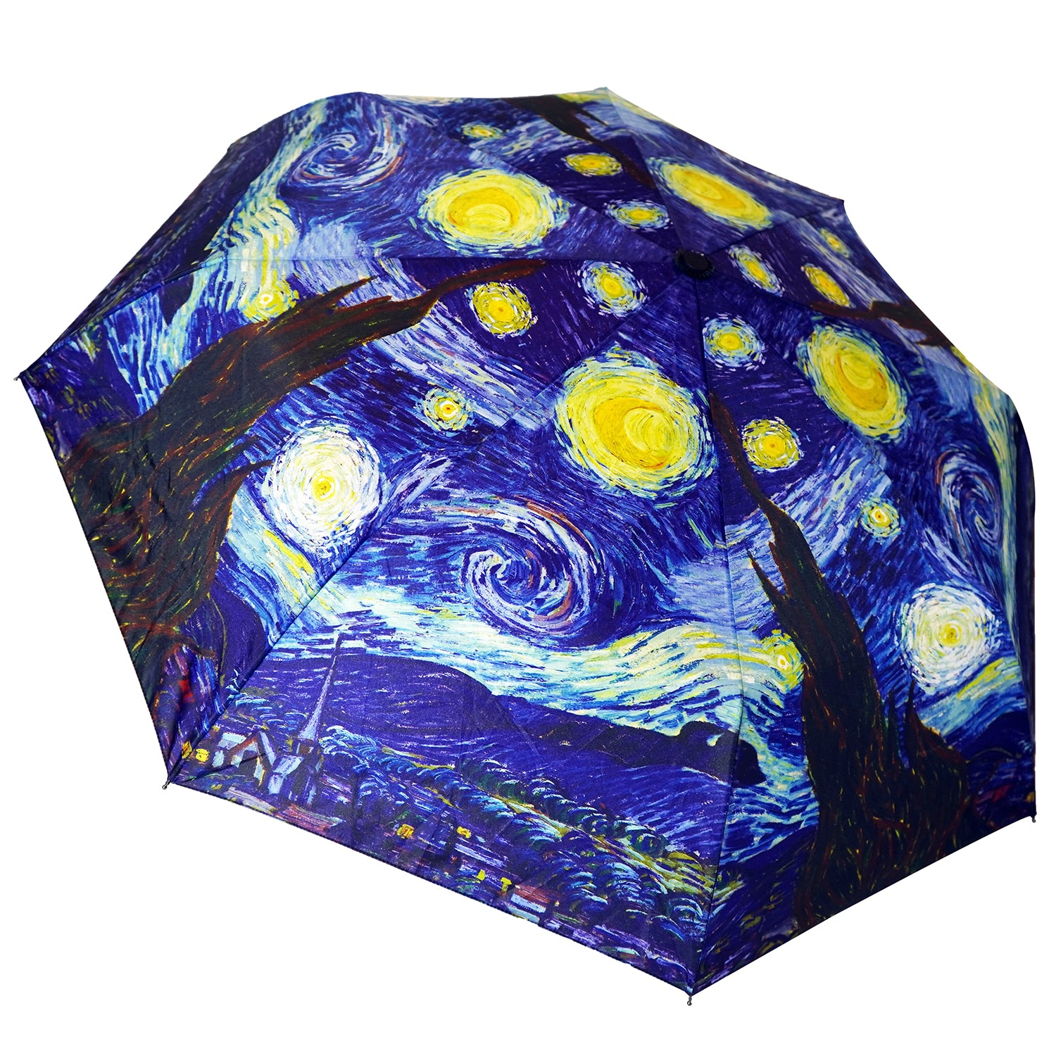 "Van Gogh Starry Night 12"" Mini  Auto Open and Close Premium Umbrella"