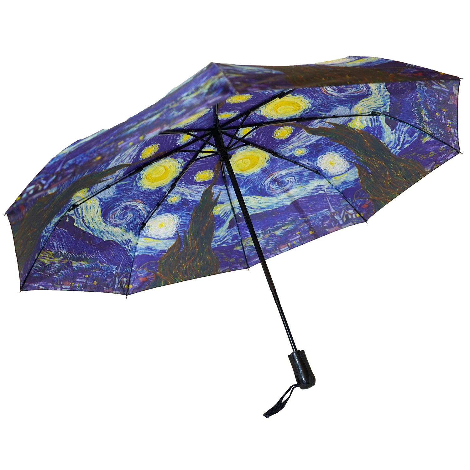 "Van Gogh Starry Night 12"" Compact Collapsible Auto Open and Close Premium Umbrella"