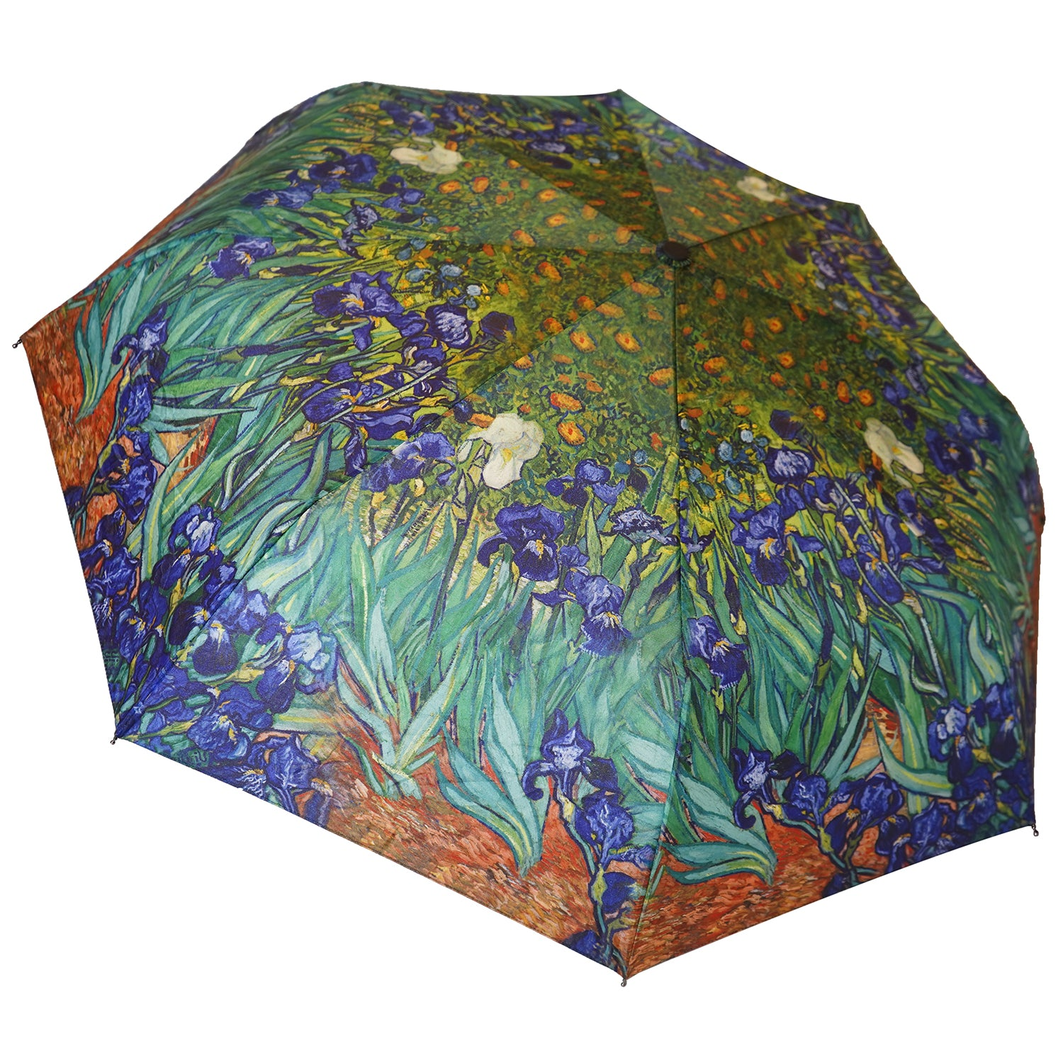 "Van Gogh Blue Irises 12"" Compact Collapsible Auto Open and Close Premium Umbrella"