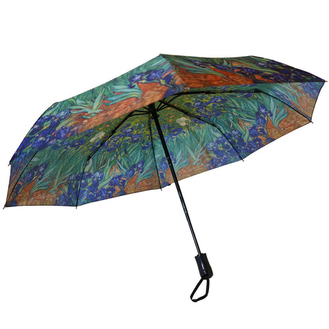 "Van Gogh Blue Irises 12"" Mini  Auto Open and Close Premium Umbrella"