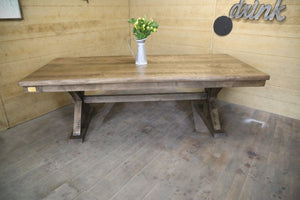 Trestle X Farmhouse Dining Table with Beam