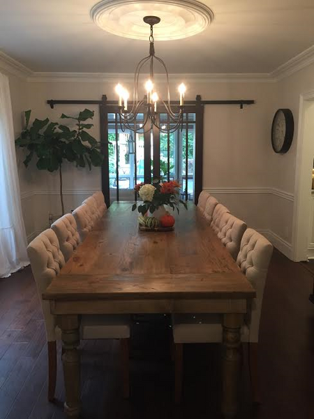Thick Spindle Farmhouse Dining Table Wooden Whale Workshop