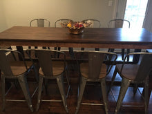 Load image into Gallery viewer, This Pub Height Farmhouse Table adds a very cool vibe that goes great with many different décor styles from rustic to eclectic. Wooden Whale Workshop Custom Woodwork ready to ship