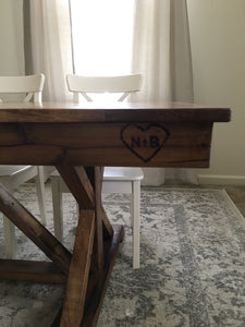Farmhouse fancy X trestle table hand made using reclaimed barn wood, reclaimed hard woods, and/or non-reclaimed woods.. Wooden Whale Workshop Custom Furniture butler pa ready to ship and custom wordword. reclaimed wood. New wood.