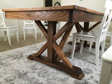 Load image into Gallery viewer, Farmhouse fancy X trestle table hand made using reclaimed barn wood, reclaimed hard woods, and/or non-reclaimed woods.. Wooden Whale Workshop Custom Furniture butler pa ready to ship and custom wordword. reclaimed wood. New wood.