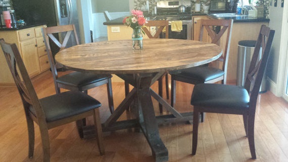 Round Trestle X Farmhouse Dining Table