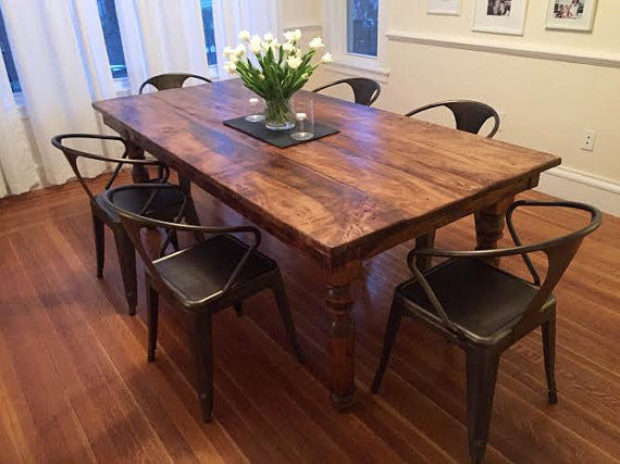 Thick Spindle Farmhouse Dining Table