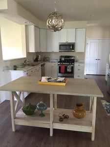 Our rustic farmhouse kitchen island made using reclaimed barn wood from Pennsylvania barns and kiln dried rough cut maple. Wooden Whale Workshop Custom Furniture, Butler, PA ready to ship and custom woodwork.Unique and beautiful. Great prices.