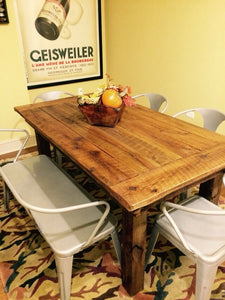 Farmhouse table made using reclaimed barn wood and rough cut wood. Wooden Whale Workshop Custom Woodwork, Butler, PA ready to ship and custom woodwork.Unique and beautiful. Great prices.