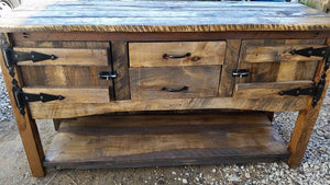 Handmade Rustic Buffet built using a mixture of reclaimed barn wood and rough cut wood. Wooden Whale Workshop Custom Woodwork butler pa ready to ship and custom woodwork.Unique and beautiful. Great prices.