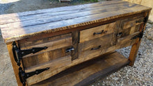 Load image into Gallery viewer, Handmade Rustic Buffet built using a mixture of reclaimed barn wood and rough cut wood. Wooden Whale Workshop Custom Woodwork butler pa ready to ship and custom woodwork.Unique and beautiful. Great prices.