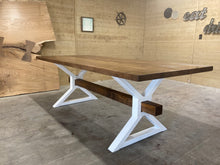 Load image into Gallery viewer, Metal X Beam Dining Table