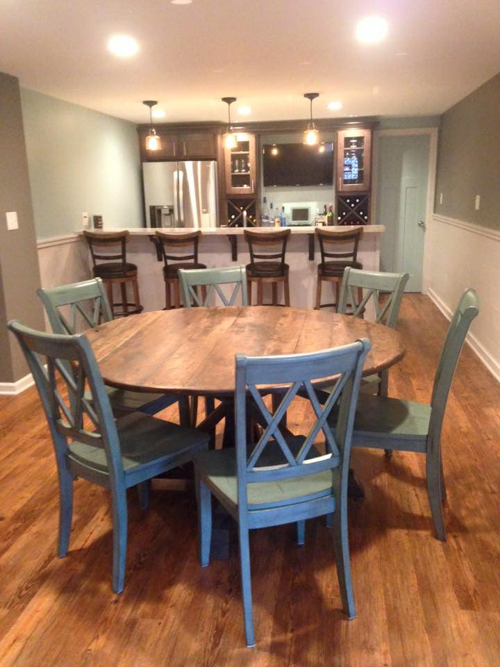 Round Trestle X Farmhouse Dining Table The Wooden Whale Workshop