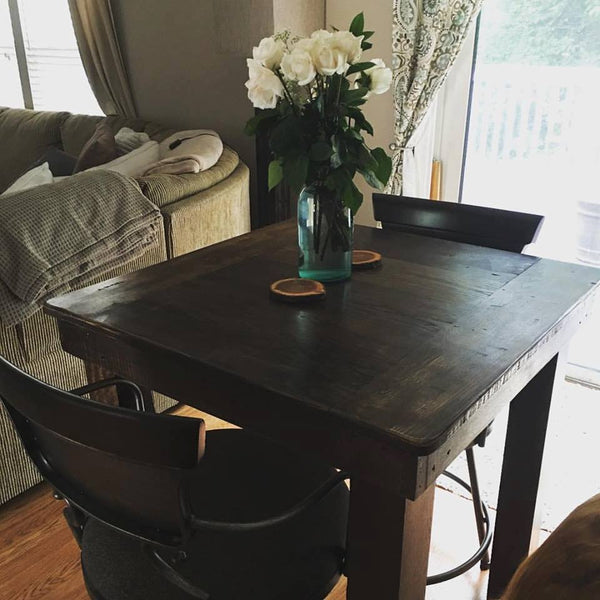 Square Farmhouse Dining Table -- Wooden Whale Workshop
