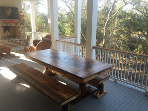 Big dining-room sized farmhouse trestle table made using reclaimed barn wood, reclaimed hard wood, or non-reclaimed hard wood.Wooden Whale Workshop Custom Woodwork, Butler, PA ready to ship and custom woodwork.Unique and beautiful. Great prices.