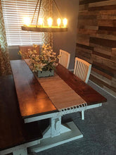 Load image into Gallery viewer, Big dining-room sized farmhouse trestle table made using reclaimed barn wood, reclaimed hard wood, or non-reclaimed hard wood.Wooden Whale Workshop Custom Woodwork, Butler, PA ready to ship and custom woodwork.Unique and beautiful. Great prices.