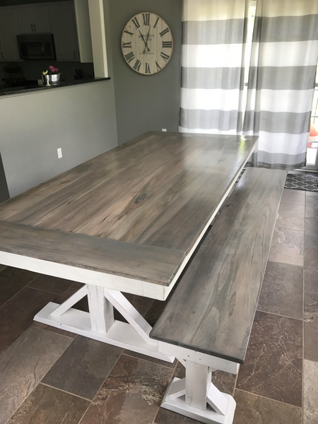 trestle x farmhouse dining table wooden whale workshop custom woodwork