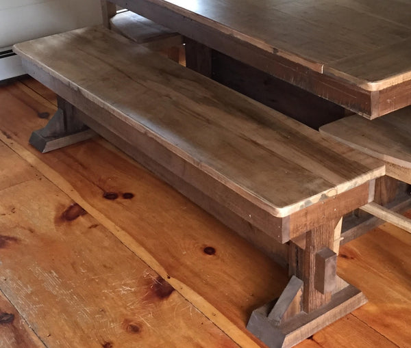 This trestle bench goes perfectly with our trestle tables. Wooden Whale Workshop Custom Woodwork, Butler, PA ready to ship and custom woodwork.Unique and beautiful. Great prices.
