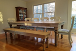 Kitchen or dining-room farmhouse table hand made using reclaimed barn wood, rough cut wood, and thick, sturdy Osborne Wood spindle legs Wooden Whale Workshop Custom Woodwork, Butler, PA ready to ship and custom woodwork.Unique and beautiful. Great prices.