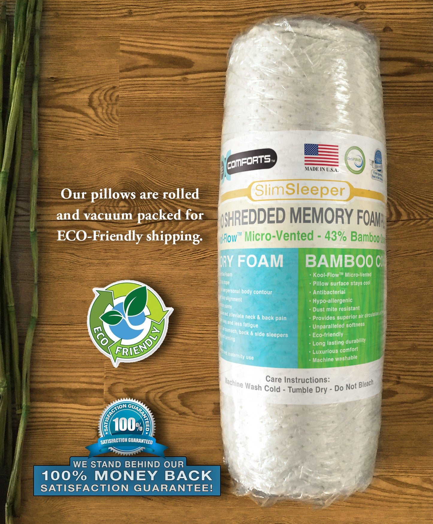 SlimSleeper Shredded Memory Foam Pillow With Bamboo Cover Xtreme