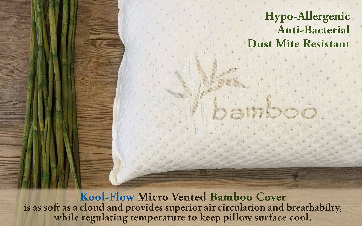 Shredded Memory Foam Pillow With Bamboo Cover Adjustable