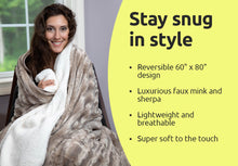 "Load image into Gallery viewer, Luxury Solid Mink Oversized Throw Blanket with Sherpa Back, 60"" x 80"""