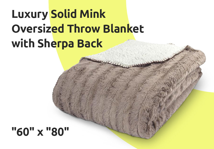 Luxury Solid Mink Oversized Throw Blanket with Sherpa Back, 60