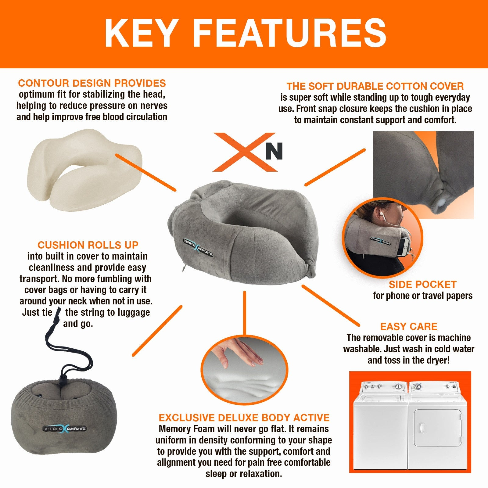 XN Contour Neck Pillow Xtreme Comforts - 9 cool diy neck pillows for traveling or just relaxation