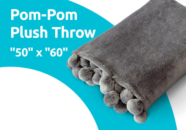 "Pom-Pom Plush Throw ""50"" x ""60"""
