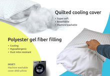 Load image into Gallery viewer, Adjustable Thickness Gel Fiber Filled Pillow with Cool-X Cooling Cover