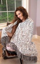 "Load image into Gallery viewer, Stylish Damask Fringe Throw ""50"" x ""70"""
