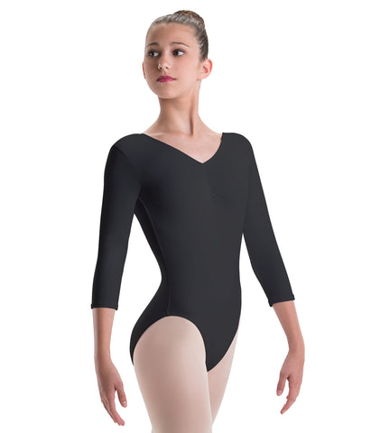 Motionwear 3/4 Sleeve V-Back Pinch High Cut Leotard