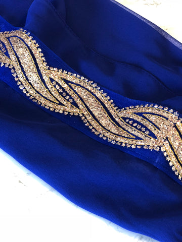 Glitter Wave Chiffon Royal