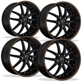 C5 C6 Corvette Wheel Package - SR1 APEX Gloss Black W/ Orange Pinstripe Set (97-13 C5 / C5 Z06 / C6),Wheels & Tires