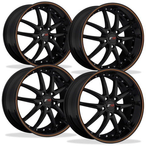 C5 C6 Corvette Wheel Package - SR1 APEX Gloss Black W/ Orange Pinstripe Set (97-13 C5 / C5 Z06 / C6)