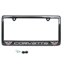C5 Corvette script with w/Double Logo License Plate Frame - Carbon Fiber
