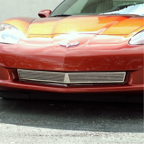 C6 Corvette Front Lower Grille Billet Style - Polished Stainless Steel