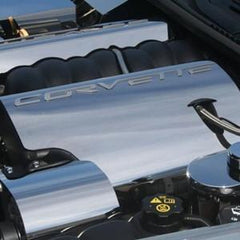 C6 Corvette Polished Stainless Steel Fuel Rail Covers W/ Script
