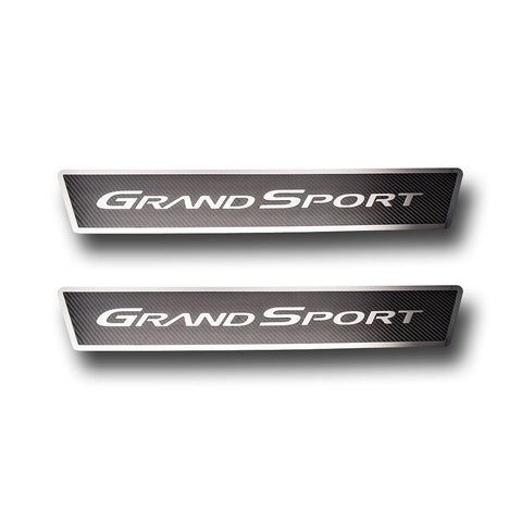 C6 GS Corvette Door Sill Plates - Stainless Steel Grand Sport Script with Carbon Fiber Overlay