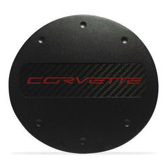 C7 Corvette - Billet Fuel Door - Black Powder Coat : Stingray, Z51 - Red Lettering