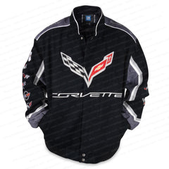 C7 Corvette All Logo Collage Twill Jacket - Black : C1, C2, C3, C4, C5, C6, C7