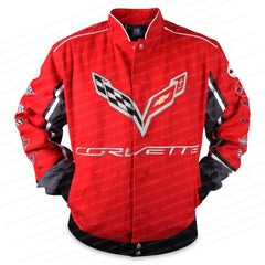 C7 Corvette All Logo Collage Twill Jacket - Red : C1, C2, C3, C4, C5, C6, C7