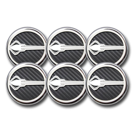 C7 Corvette Cap Cover 6Pc. Set Manual - Stingray Emblem GM Licensed Chrome/Brushed/Carbon Fiber Inlay Colors