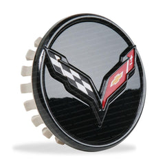 C7 Corvette Stingray - GM Center Cap w/Crossed Flags Logo - Carbon Flash Black